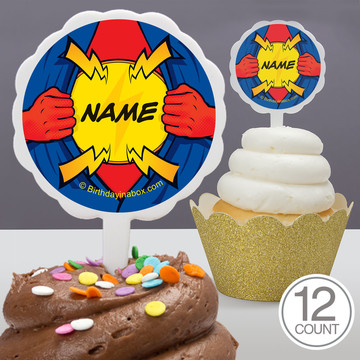 Superhero Personalized Cupcake Picks (12 Count)