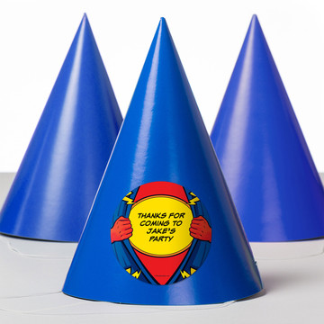 Superhero Personalized Party Hats (8 Count)