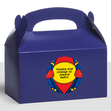 Superhero Personalized Treat Favor Boxes (12 Count)