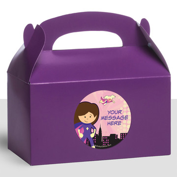 Superhero Pink Personalized Treat Favor Boxes (12 Count)