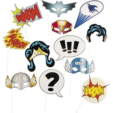 Superhero Stick Photo Booth Props (12 Pack)