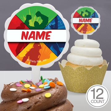 Superheroes Personalized Cupcake Picks (12 Count)