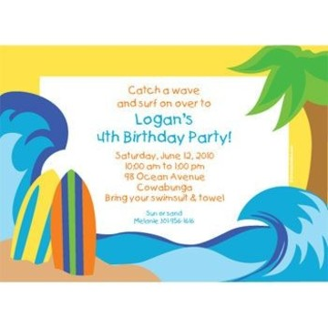 Surfer Dude Personalized Invitation (each)