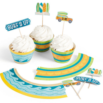 Surfs Up Cupcake Collars with Picks (100 pieces)