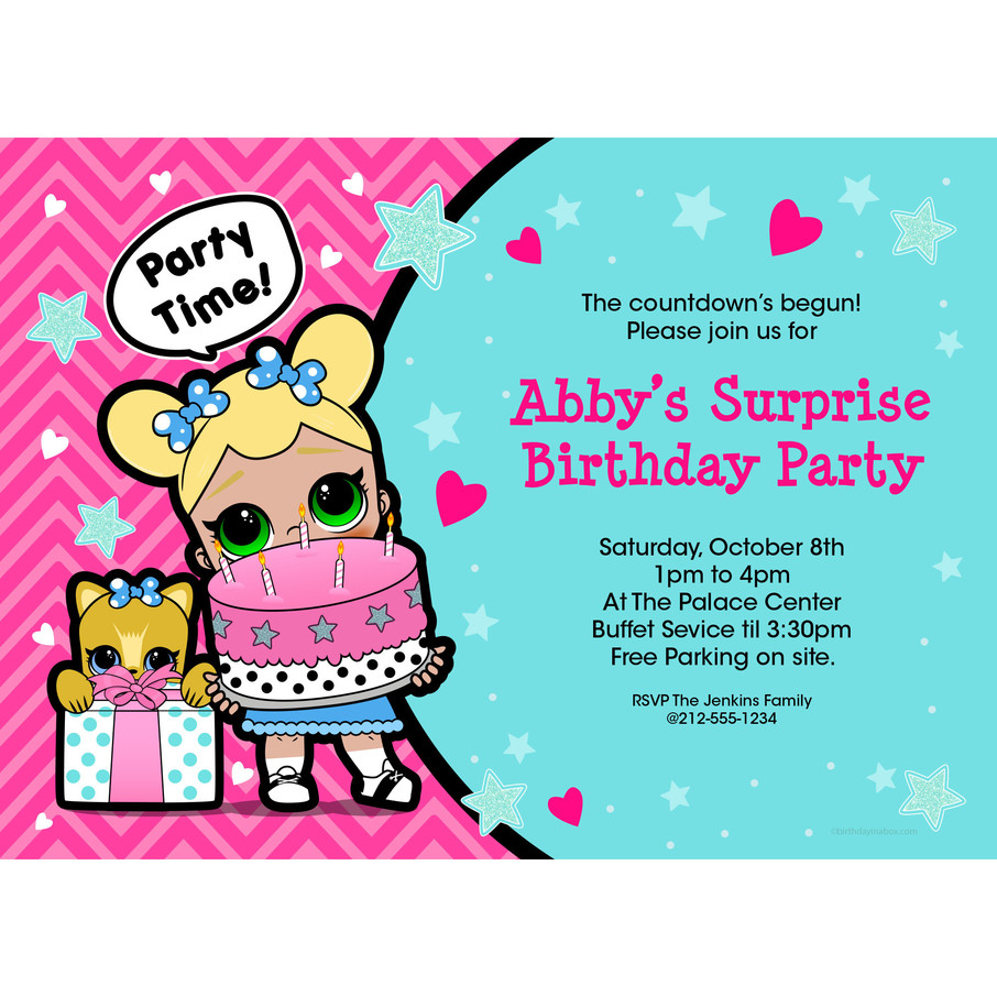 View larger image of Surprise Dolls Personalized Invitation (Each)