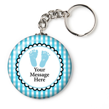 "Sweet Baby Feet Blue Personalized 2.25"" Key Chain (Each)"