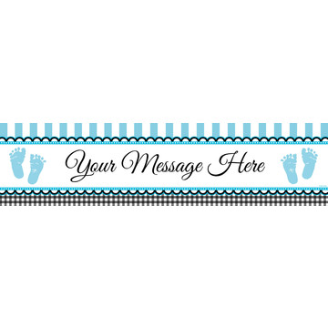 Sweet Baby Feet Blue Personalized Banner (Each)