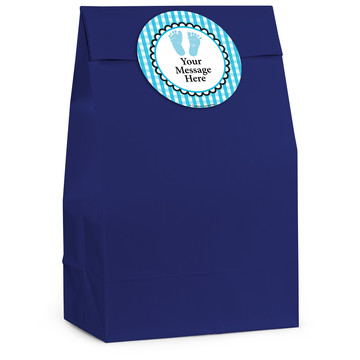 Sweet Baby Feet Blue Personalized Favor Bag (12 Pack)