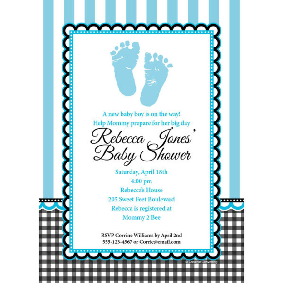 View larger image of Sweet Baby Feet Blue Personalized Invitation (Each)