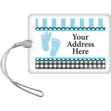 Sweet Baby Feet Blue Personalized Luggage Tag (Each)
