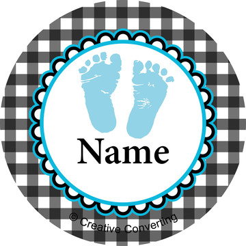 Sweet Baby Feet Blue Personalized Mini Stickers (Sheet of 24)