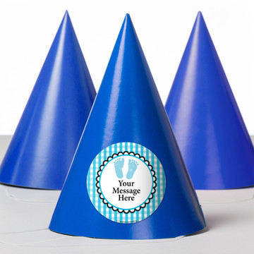 Sweet Baby Feet Blue Personalized Party Hats (8 Count)