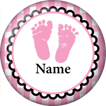 Sweet Baby Feet Pink Personalized Mini Button (Each)