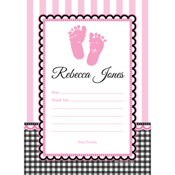 Sweet Baby Feet Pink Personalized Thank You (Each)
