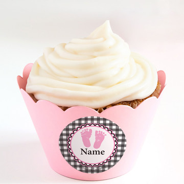 Sweet Baby Feet PinkPersonalized Cupcake Wrappers (Set of 24)
