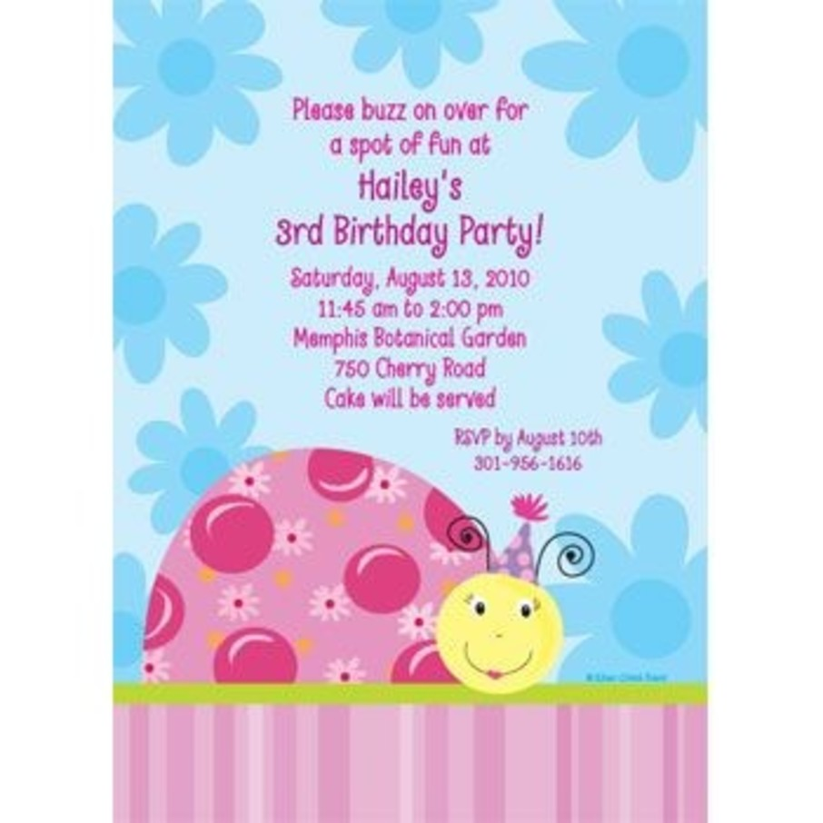 View larger image of Sweet Ladybug Personalized Invitation (each)