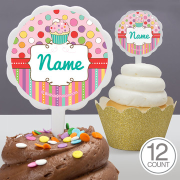 Sweet Stuff Personalized Cupcake Picks (12 Count)