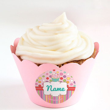 Sweet Stuff Personalized Cupcake Wrappers (Set of 24)
