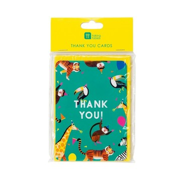 Talking Tables Party Animals Thank You Cards with Envelopes, 8ct