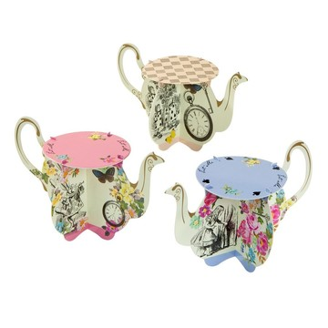 Talking Tables Truly Alice Assorted Teapot Cupcake Stand, 6ct