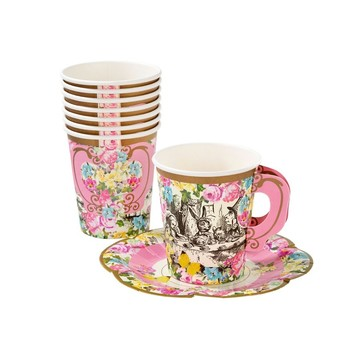 Talking Tables Truly Alice Cup Set With Handle & Saucers, 12ct