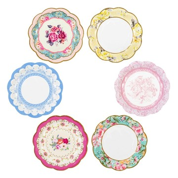 "Talking Tables Truly Scrumptious Assorted ""Vintage"" Dessert Plate, 12ct"