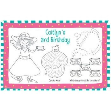 Tea Party Personalized Activity Mats (8-pack)