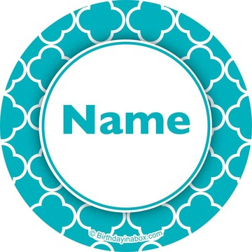 Teal Quatrefoil Personalized Mini Stickers (Sheet of 24)