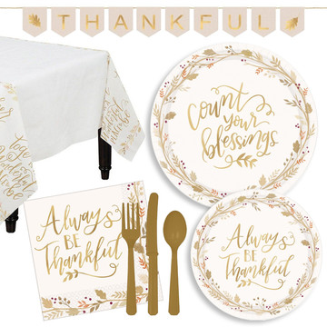 Thankful Tableware for 18 with Banner