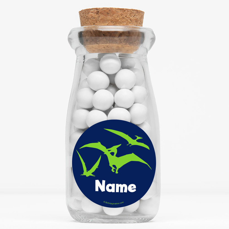 "View larger image of The Friendly Dinosaur Personalized 4"" Glass Milk Jars (Set of 12)"