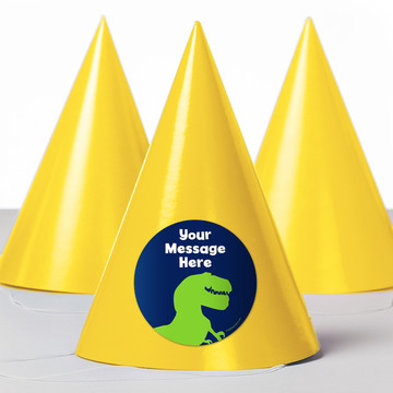 The Friendly Dinosaur Personalized Party Hats (8 Count)