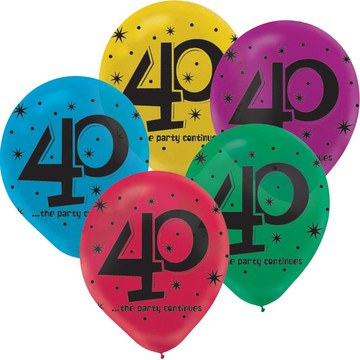 "The Party Continues 40th Birthday 12"" Latex Balloons (15 Count)"