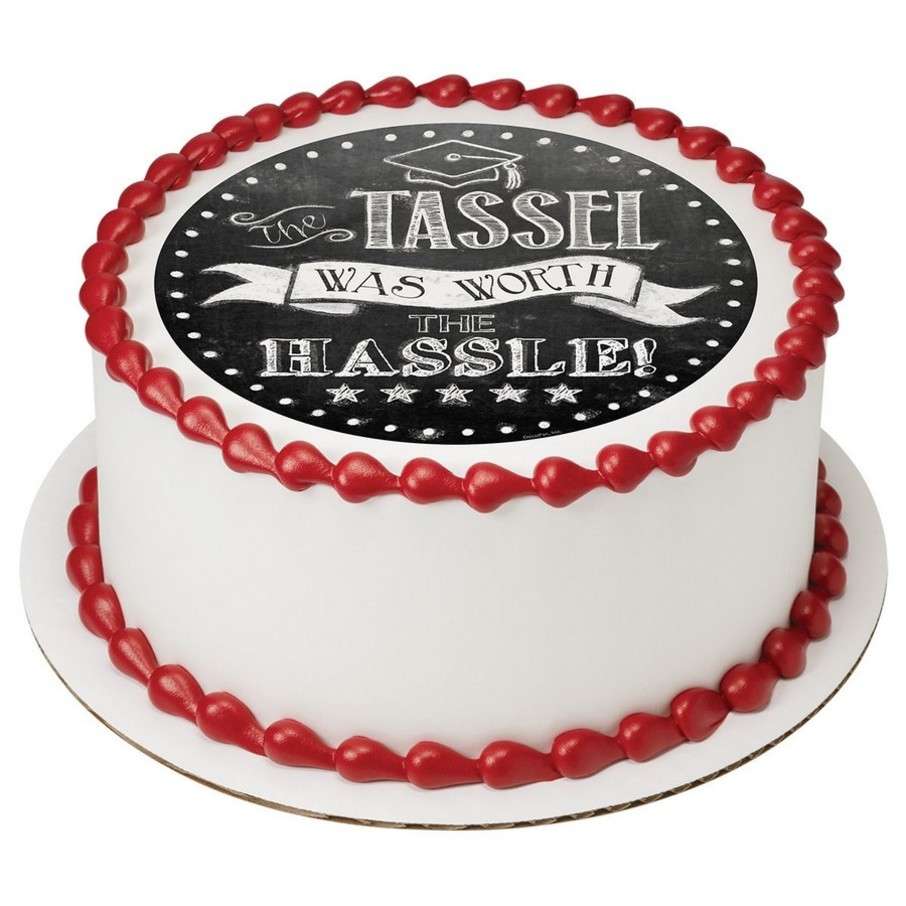 "View larger image of The Tassel Was Worth The Hassle 7.5"" Round Edible Cake Topper (Each)"