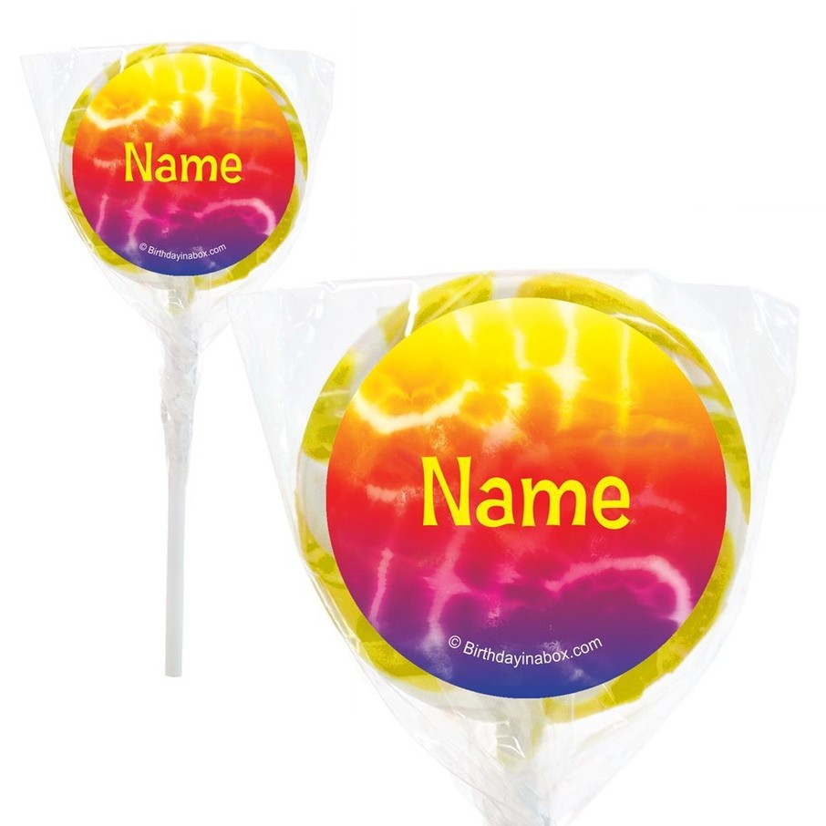 """View larger image of Tie Dye Fun Personalized 2"""" Lollipops (20 Pack)"""