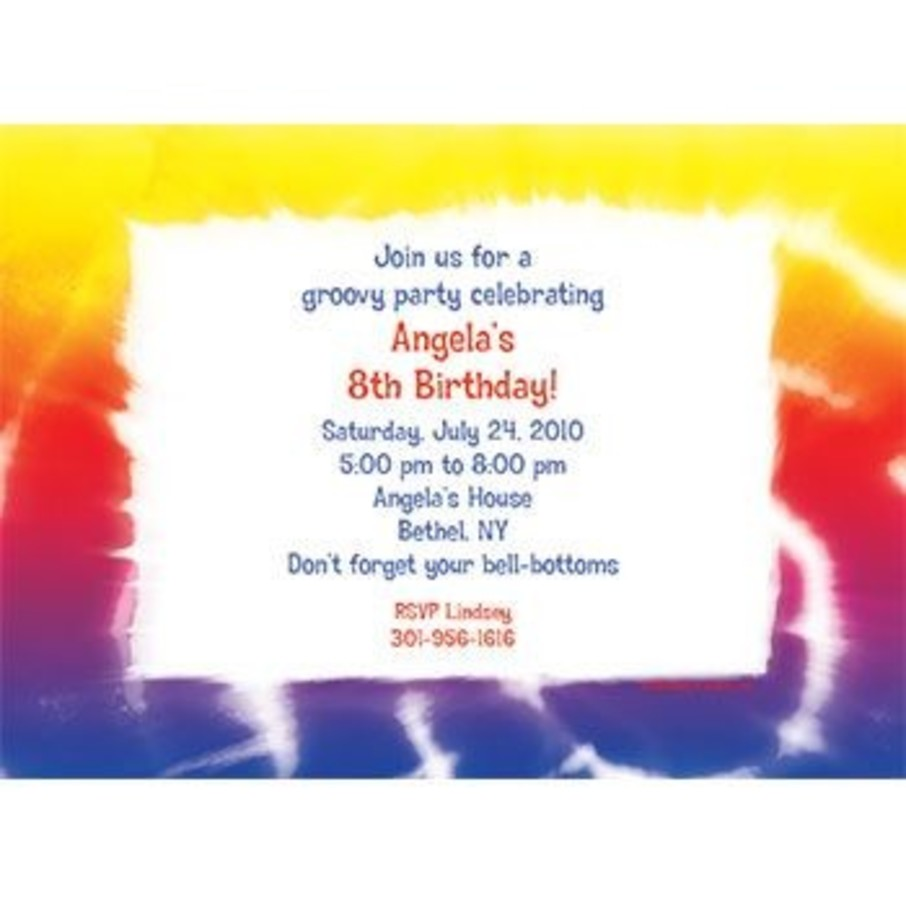 View larger image of Tie Dye Fun Personalized Invitation (each)