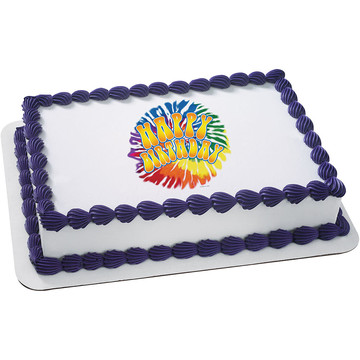 Tie Dye Quarter Sheet Edible Cake Topper (Each)