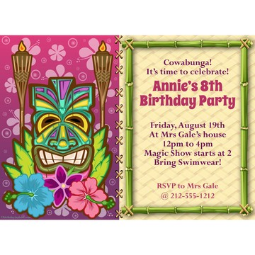 Tiki Party Personalized Invitation (each)