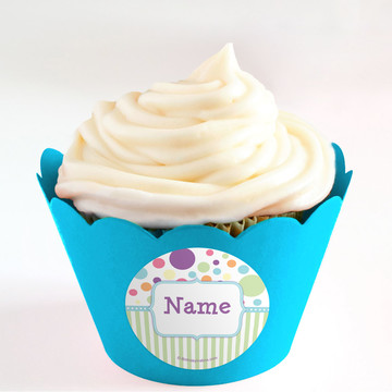 Tiny Bundle Blue Personalized Cupcake Wrappers (Set of 24)