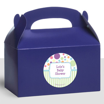 Tiny Bundle Blue Personalized Treat Favor Boxes (12 Count)
