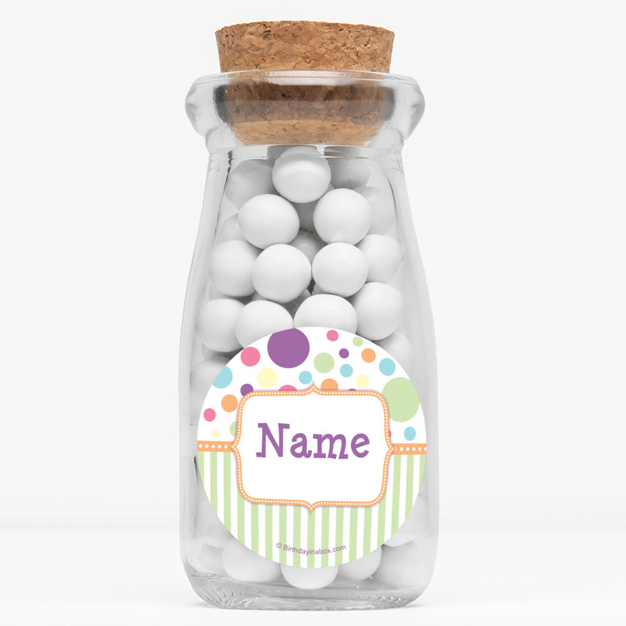 """View larger image of Tiny Bundle Neutral Personalized 4"""" Glass Milk Jars (Set of 12)"""