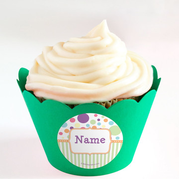 Tiny Bundle Neutral Personalized Cupcake Wrappers (Set of 24)