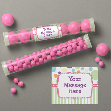 Tiny Bundle Pink Personalized Candy Tubes (12 Count)
