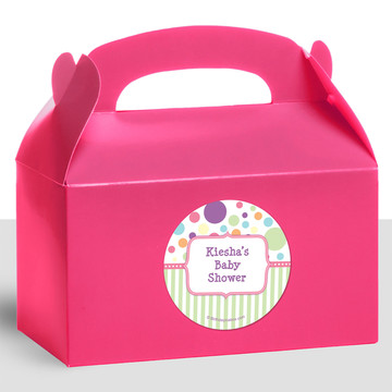 Tiny Bundle Pink Personalized Treat Favor Boxes (12 Count)