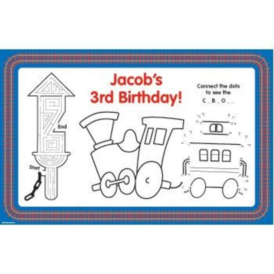 View larger image of Train Party Personalized Activity Mats (8-pack)