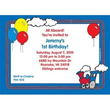 Train Party Personalized Invitation (each)
