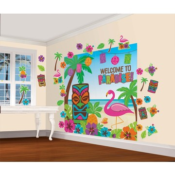 Tropical Tiki Luau Scene Setters Wall Decorating Kit