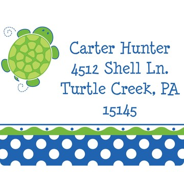 Turtle Party Personalized Address Labels (Sheet of 15)
