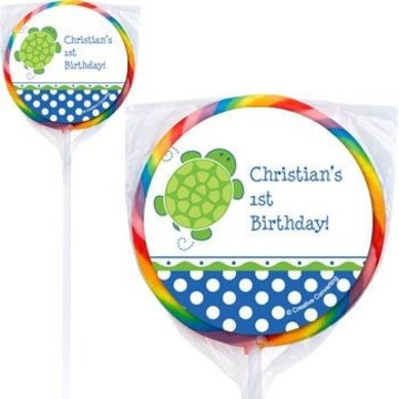 Turtle Party Personalized Lollipops (pack of 12)