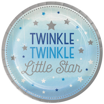 "Twinkle Twinkle Little Star Blue 9"" Dinner Plates (8)"