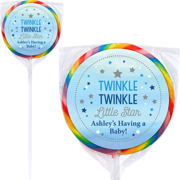 Twinkle Twinkle Little Star Blue Personalized Lollipops (12 Pack)
